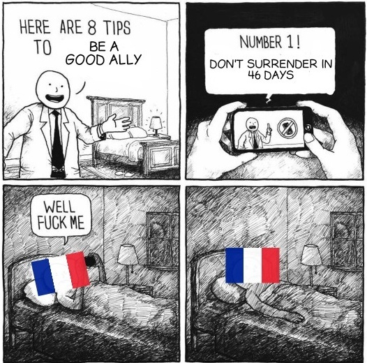 France and surrender...Can you name a more iconic duo? - meme