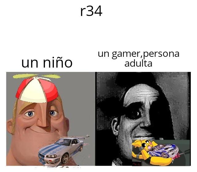 R34 del coche vs r34 de +18 - meme