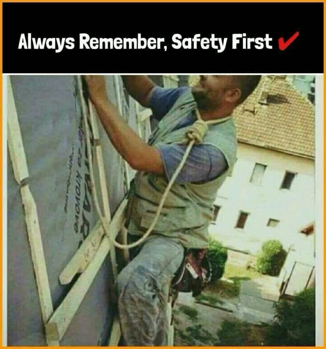 In case of falling, tie rope around neck to survive fall - meme