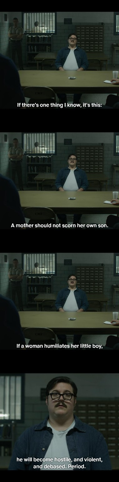 How (some) monsters are made........ The show is Mindhunter. And yes it's on netflix - meme