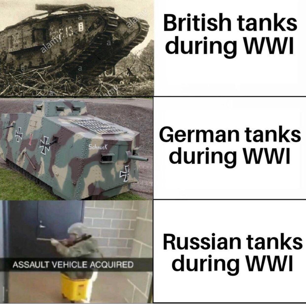 "Tzar tank was worse than that ""assault vehicle"" - meme"