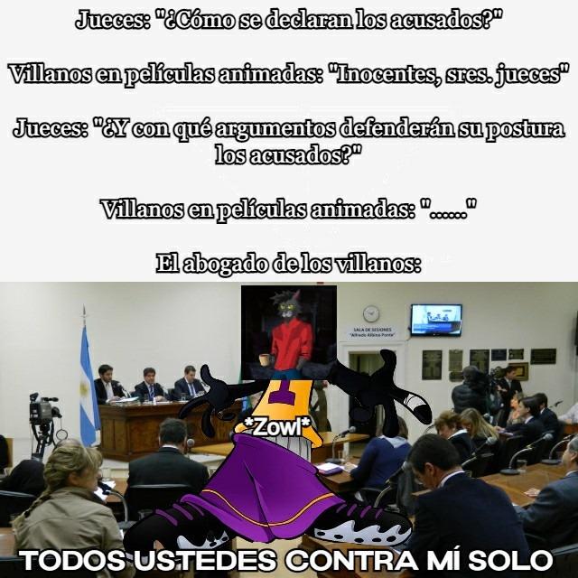 Zowl, el más eficaz defensor legal de los villanos animados - meme