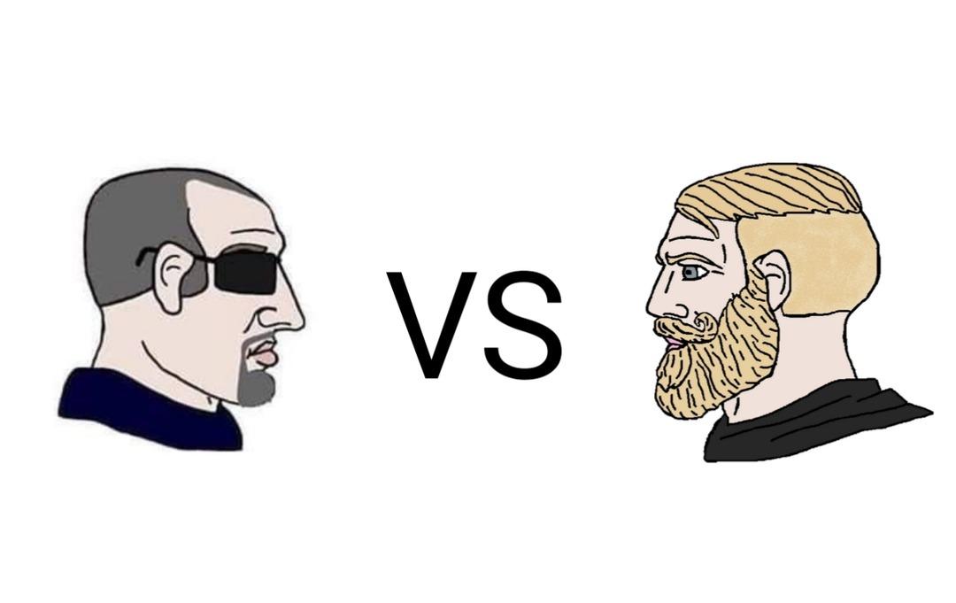 Yes Chad con gafas vs Yes Chad rubio ¿quien gana? - meme