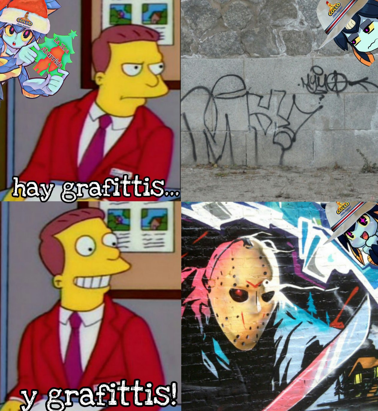 Dibujos bonitos en una pared - meme