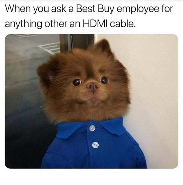 When you ask a Best Buy employee for anything other than an HDMI cable - meme