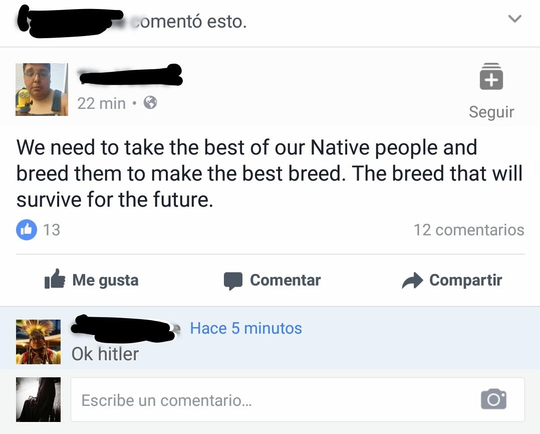 Hitler lives on in the Native community. - meme