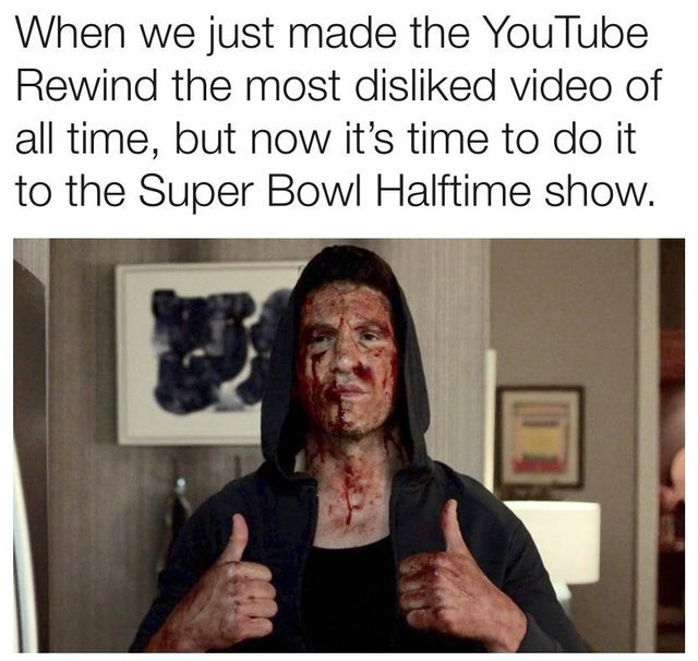 Time to dislike Super Bowl Halftime Show's video on Youtube! - meme