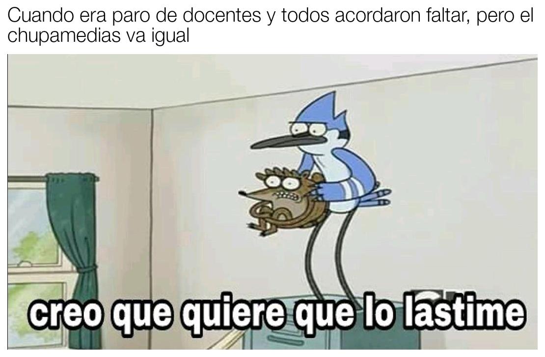Ese puto...(chupameduas es un termino Argentino (creo)que se utiliza cuando una persona simpre delata a los demás con lo profesores, es muy molesto y arruina todo. NO ROBEN - meme