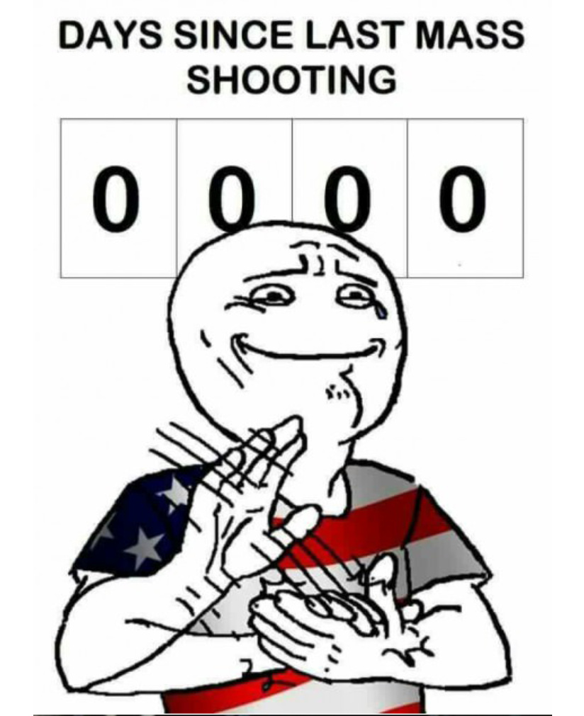 When the whole world gets pissed at you for not being even remotely normal so you get pissed off and have a mass shooting for the 308th time this year - meme