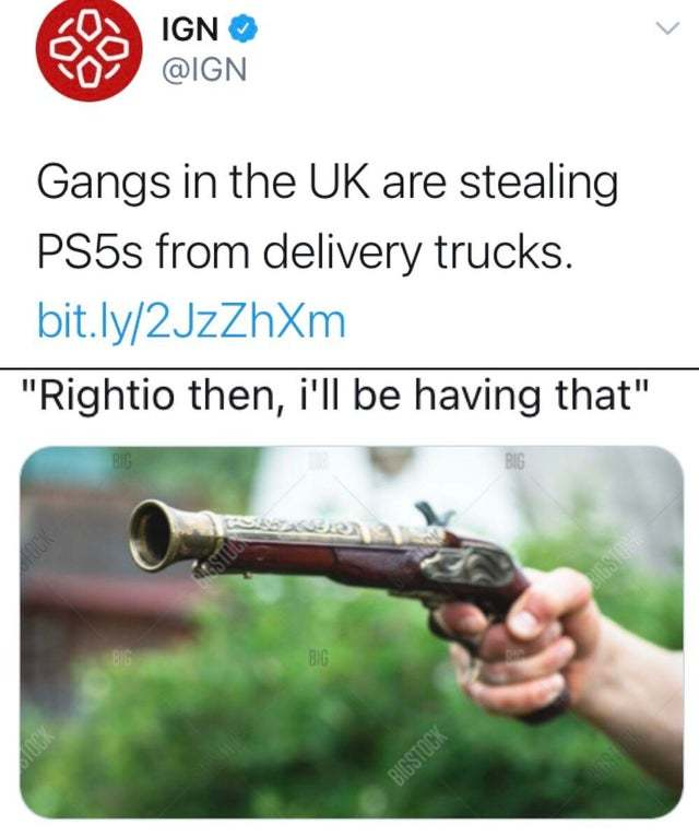 Gangs in the UK are stealing PS5s from delivery trucks - meme