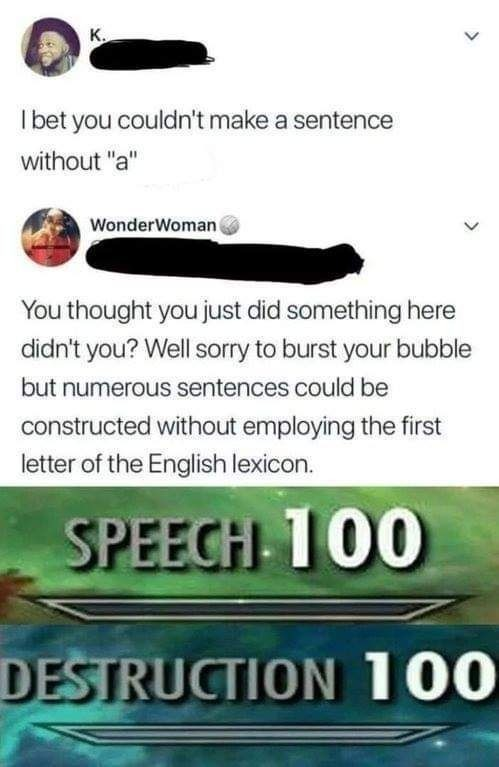 Speech , destruction 100 - meme
