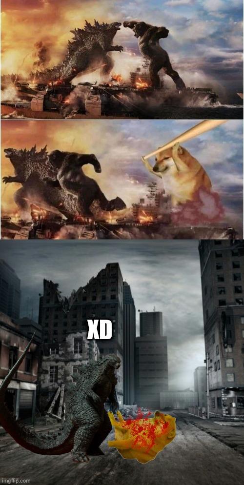 Cheems vs Godzilla, pero realista - meme