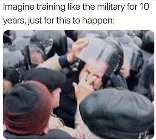 years of academy training wasted - meme