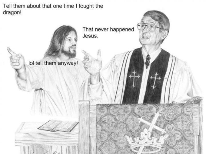 jesus rides a unicorn to fight dragons - meme