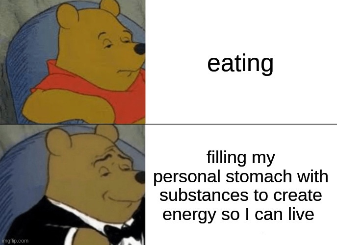 E for energy and eating - meme