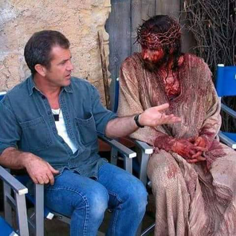 Gibson giving jesus sum acting pointers & tips... - meme