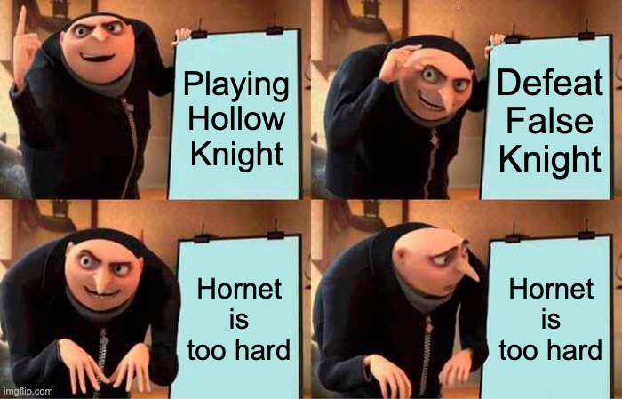 When I played HK I stopped playing for a year bcz of Hornet - meme