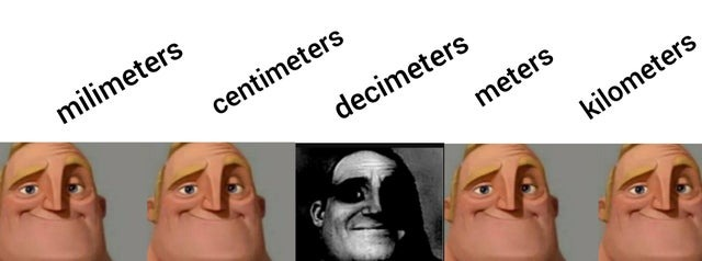 Nobody uses decimeters - meme