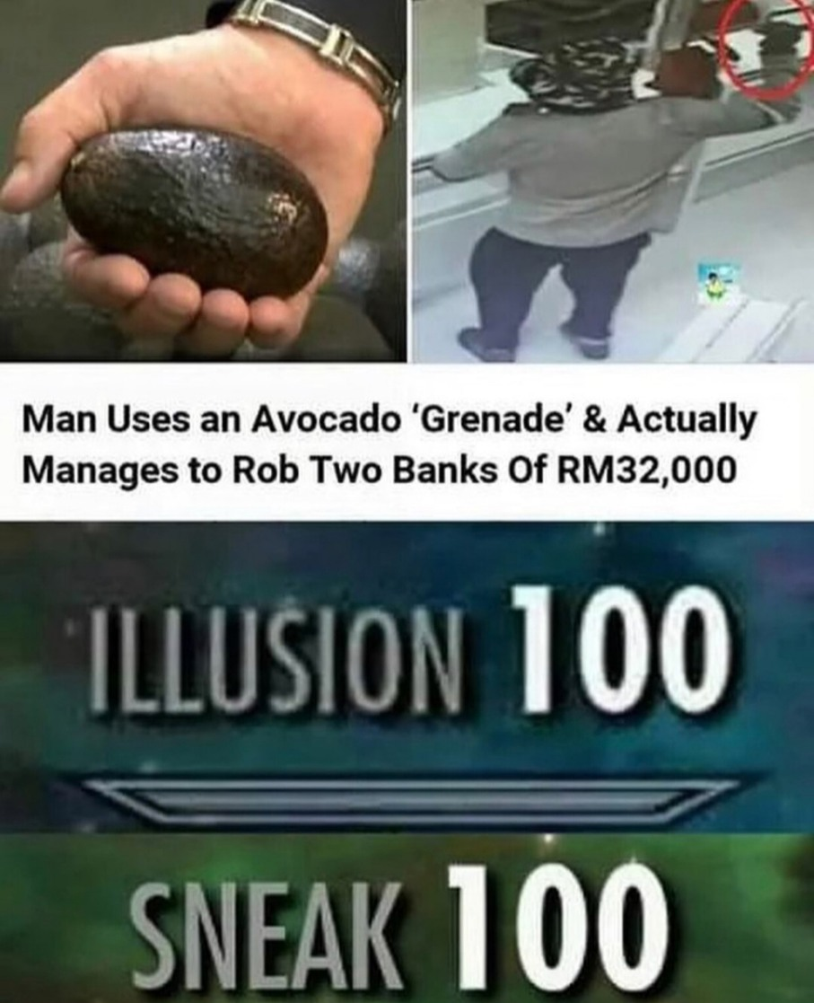 How did someone not realise he was holding an avocado - meme
