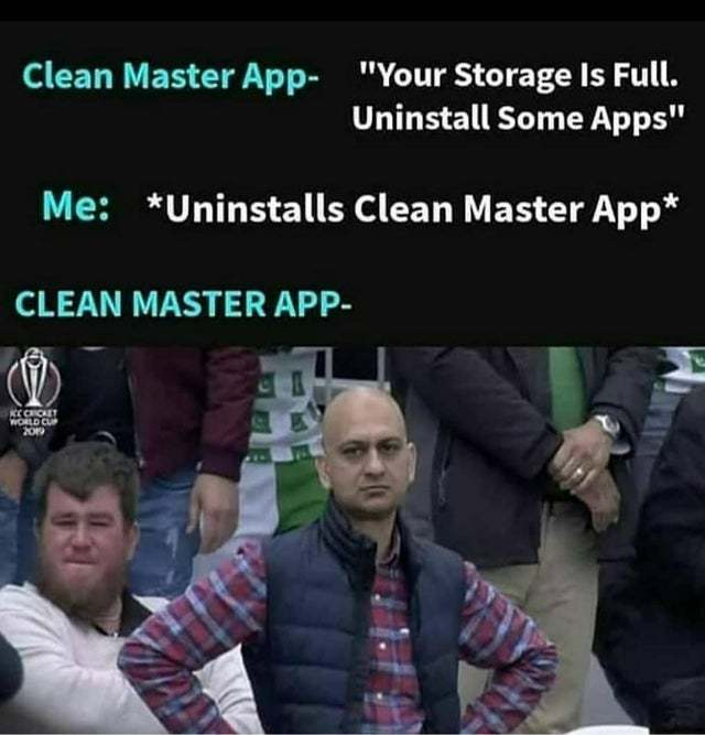 Uninstall clean master app - meme
