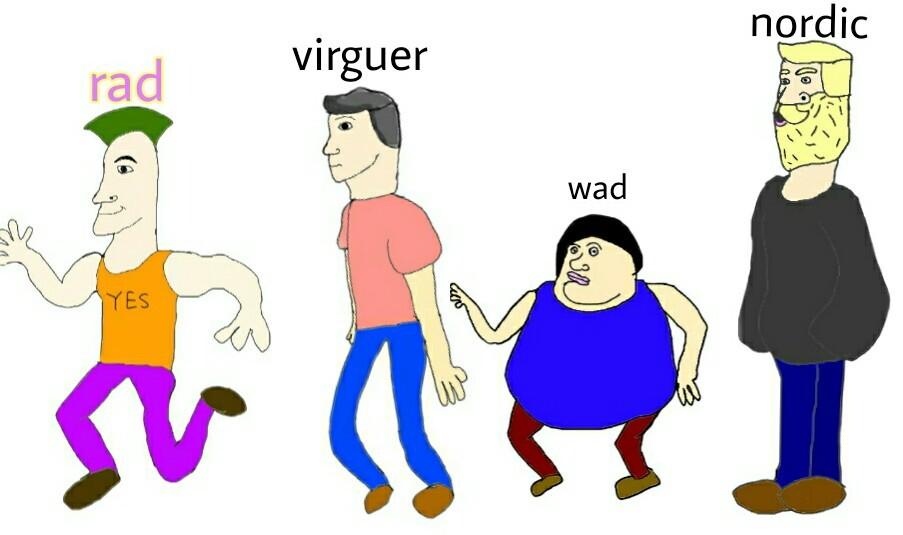 plantilla nueva,usen el tag:virguer vs wad vs nordic vs rad - meme