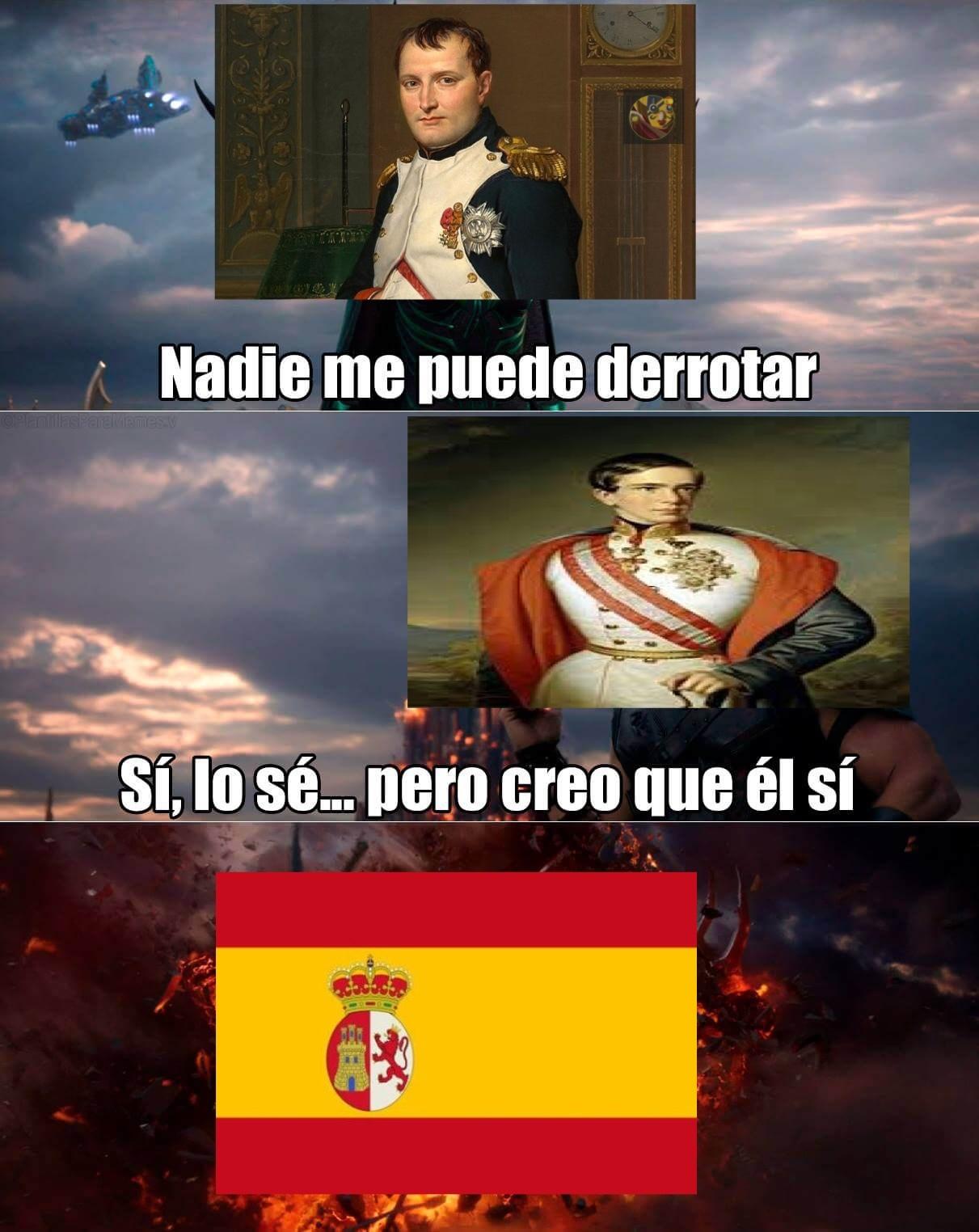 Sogeking PD: El de la segunda foto es Francisco I de Austria. La batalla de Bailén fue la primera derrota de Napoleón, perdió contra España - meme