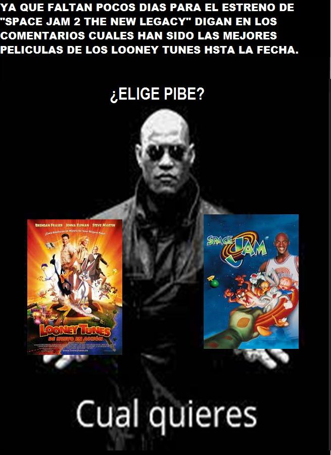 Elige pibe cual pelicula es mejor (Looney Tunes de nuevo en accion) o (Space Jam 1) - meme