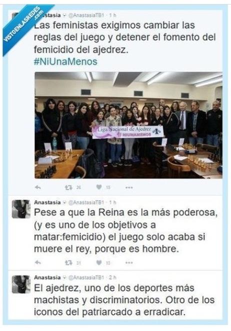 Las feminazis se quejan en twitter por las reglas del ajedrez - meme