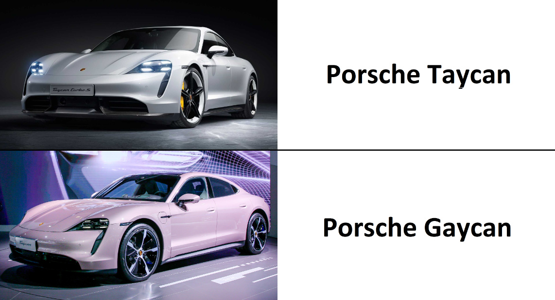''But boss, it's an electric car, I can't put in a turbo.'' The boss: ''Just do it.'' -> Porsche Taycan Turbo S - meme