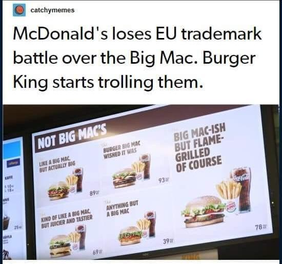 Burger King trolls McDonalds after they lost EU trademark over the Big Mac - meme