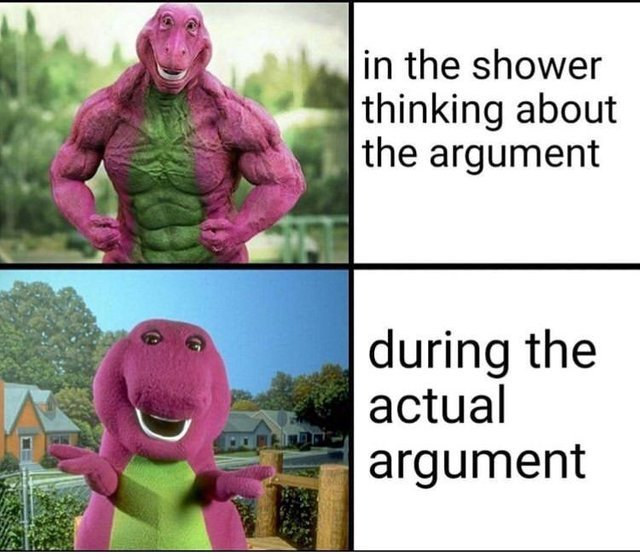 I win all every single argument in the shower - meme