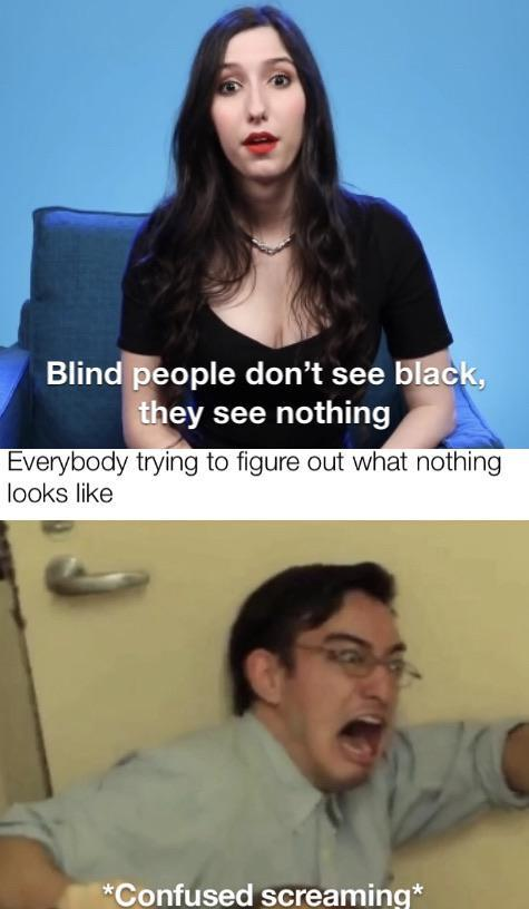 Blind people don't see black, they see nothing - meme