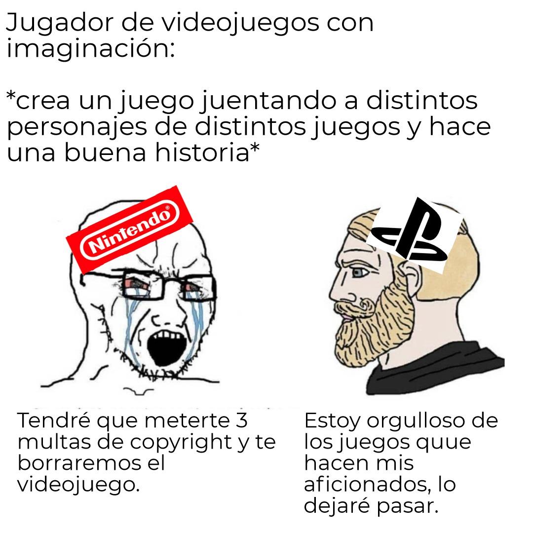 The virgin nintendo vs the playstation chad - meme