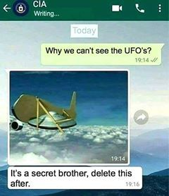 Why we can't see the UFO's - meme