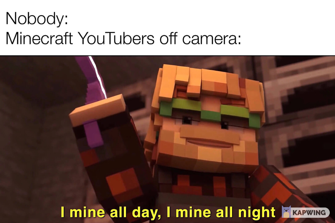 minecraft youtuber meme