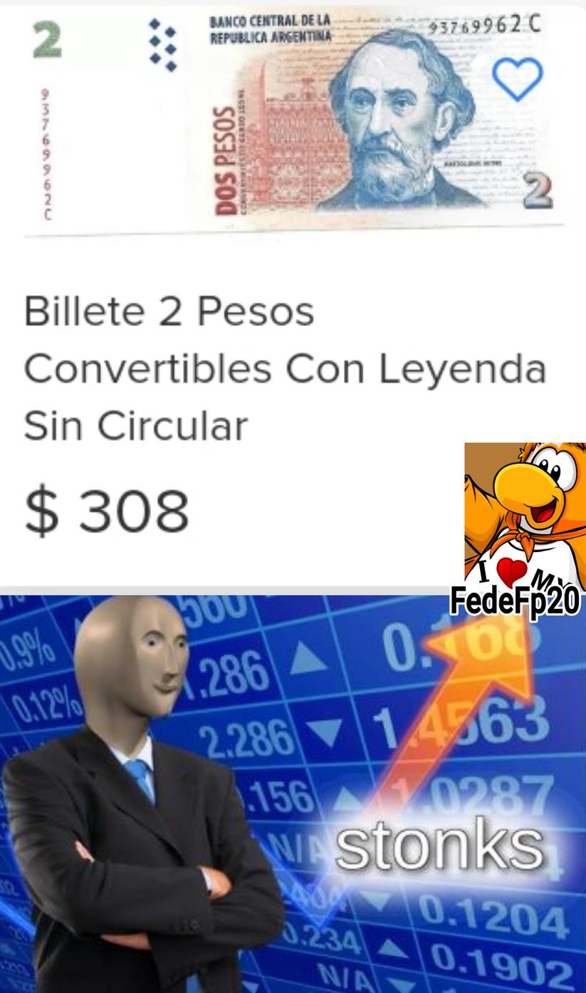 Billete de 2 pesos a 308 pesos - meme