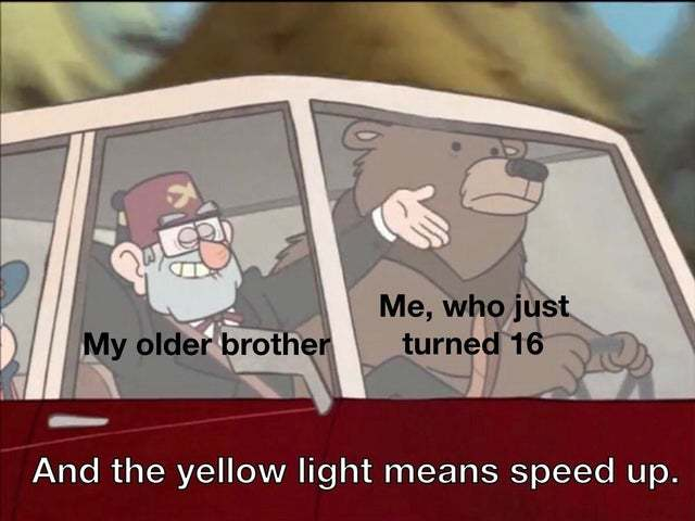 Yellow light means speed up - meme