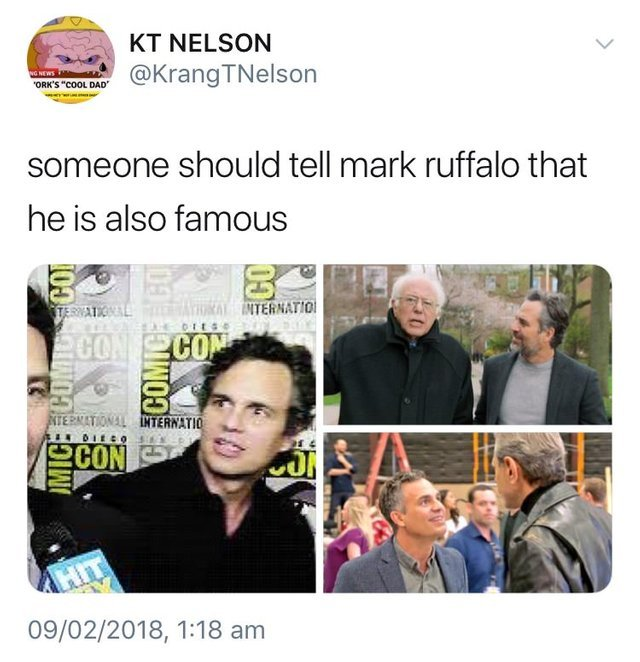 Someone should tell Mark Ruffalo that he is also famous - meme
