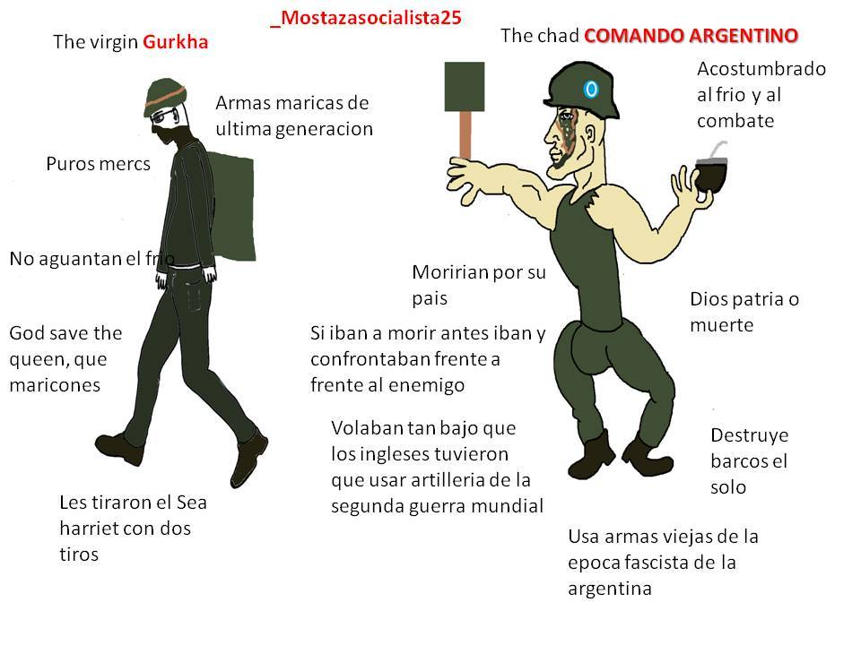 The chad Comando vs the virgin Gurkha - meme
