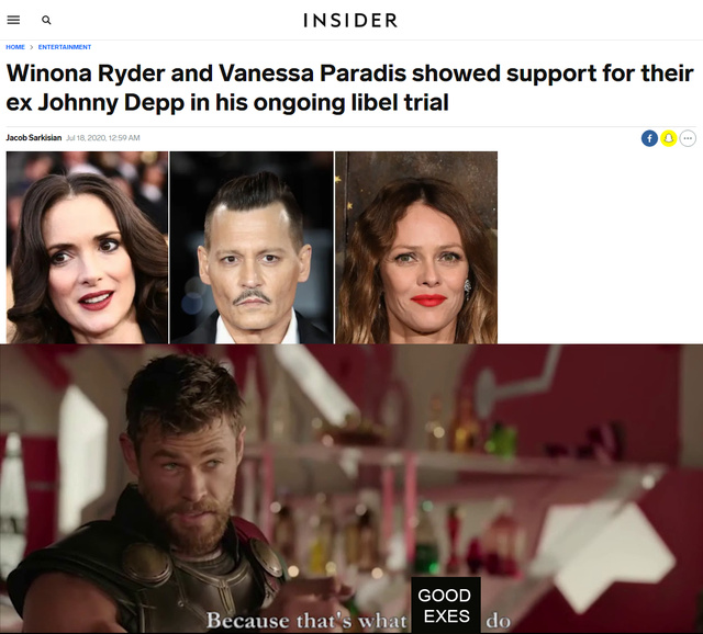Winona Ryder and Vanessa Paradis showed support for their ex Johnny Depp in his ongoing libel trial - meme