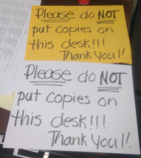 Please do NOT put copies on this desk. - meme