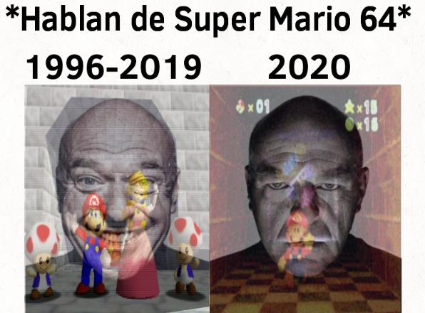 Recuerdo como si fuera ayer cuando Super Mario 64 paso se ser un juego alegre a ser uno tétrico según la comunidad - meme