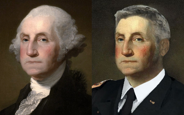 George Washington with a modern hair style - meme