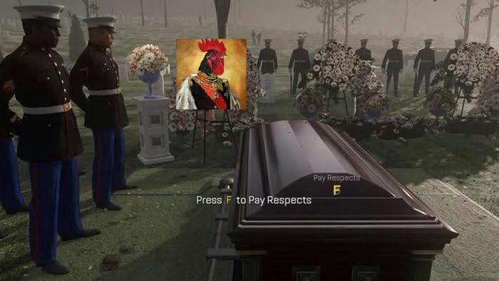 Elieja esta morto pressione f para prestar respeito - meme