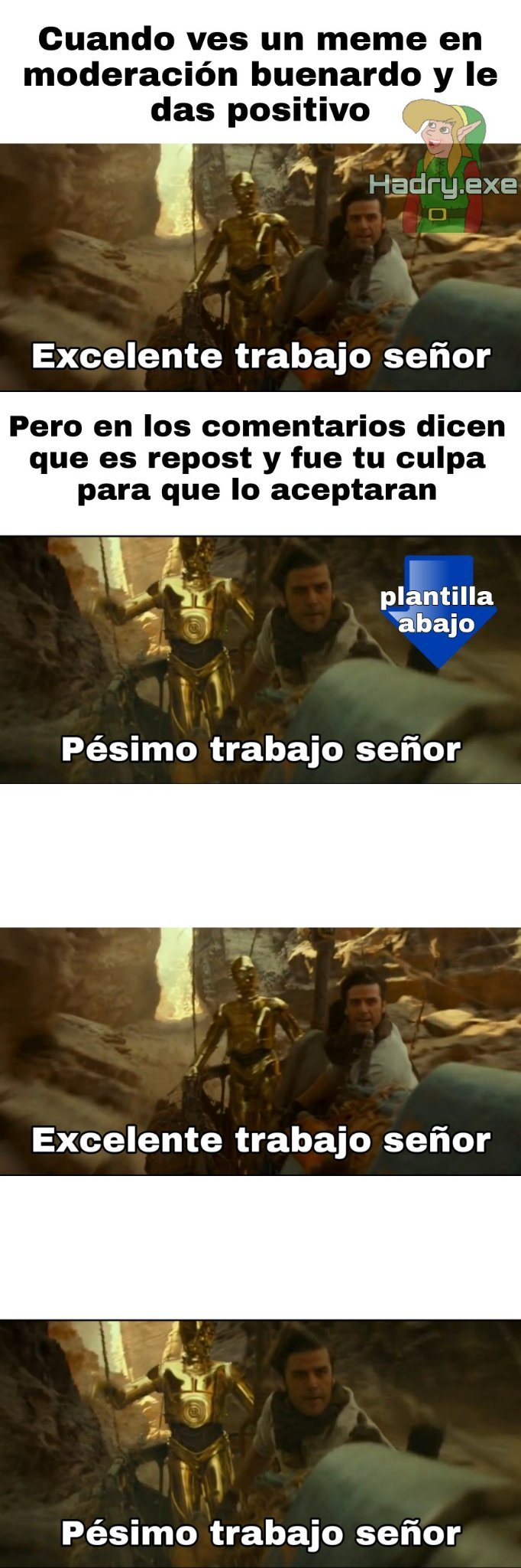 La plantilla abajo - meme