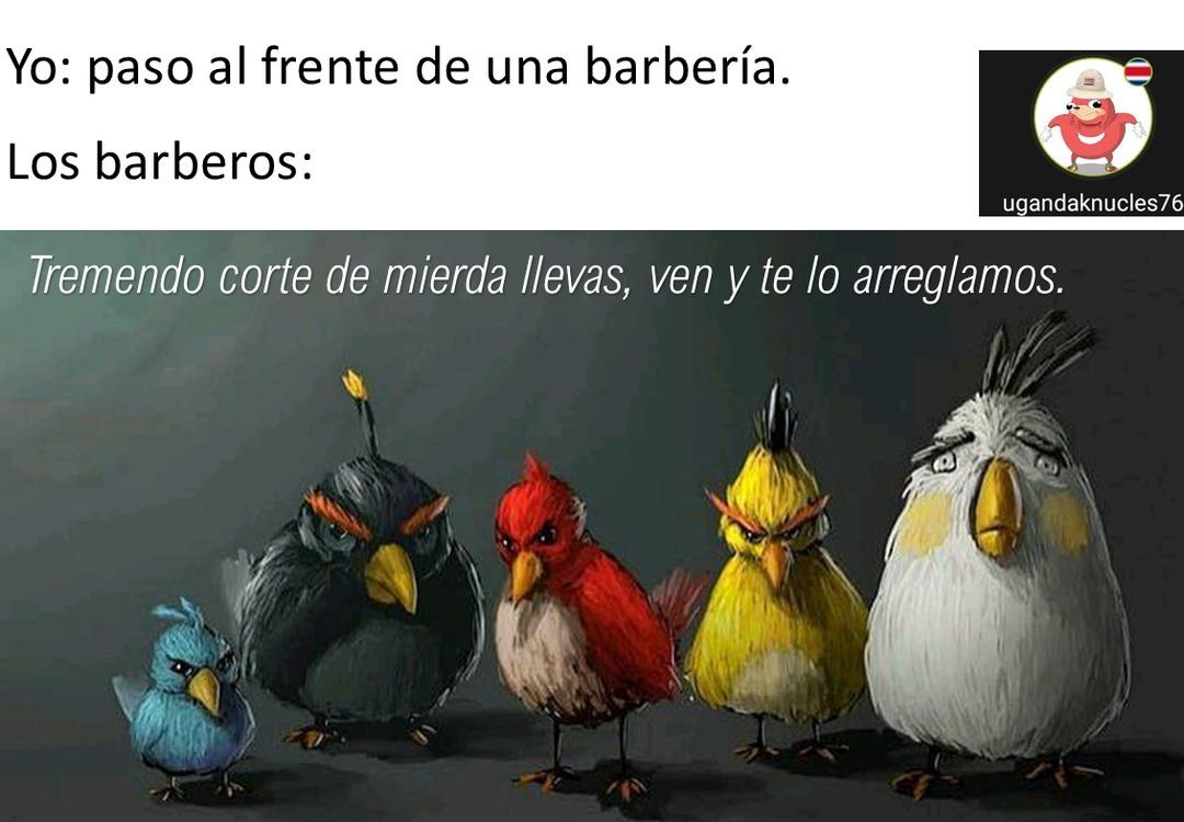 contexto: en Costa Rica hay barberías, administradas por gente de calle, los cuales tienden a estar ofreciendo el servicio a cada persona que pasa al frente. - meme