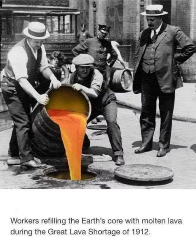 Workers refilling the Earth's core with molen lava - meme