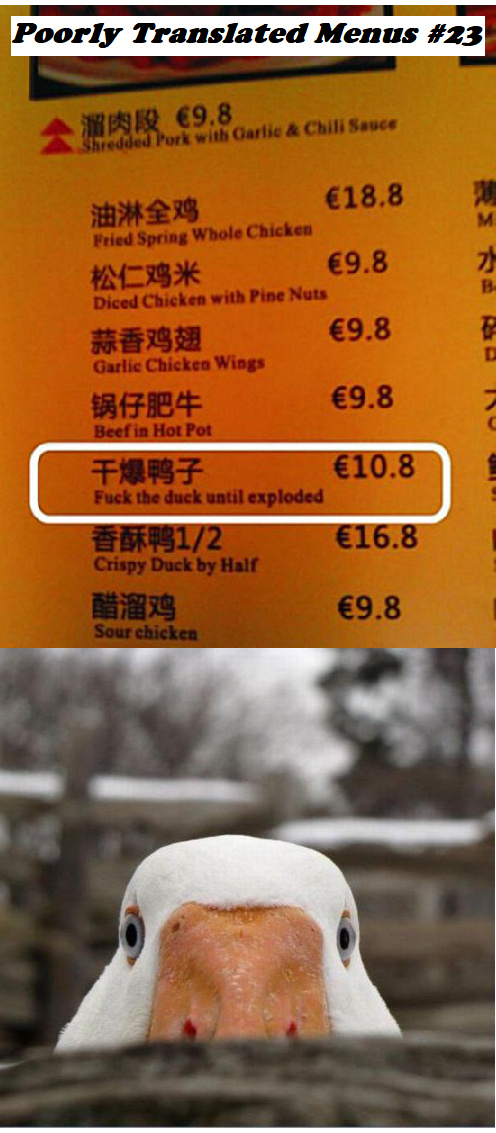 POORLY TRANSLATED MENUS - meme