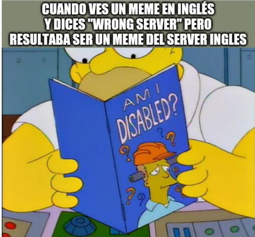 Wrong server server ingles tags - meme