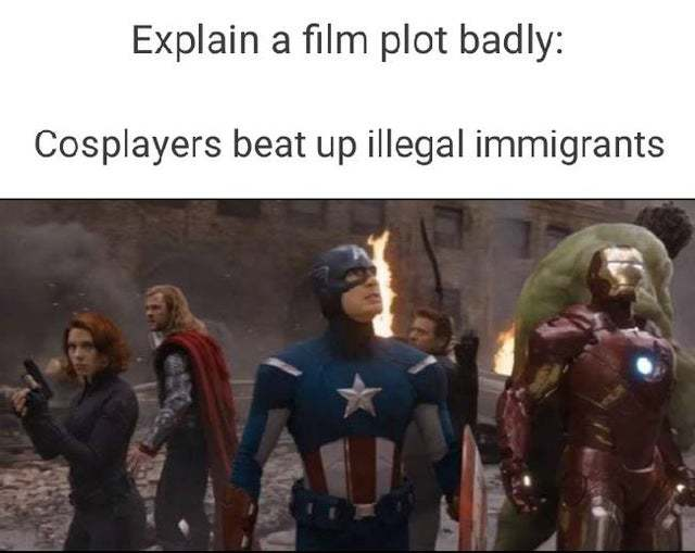 Cosplayers beat up illegal immigrants - meme